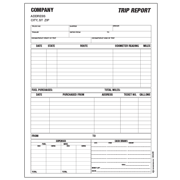 trip envelopes  trip expense reports  bill of ladings